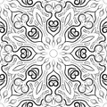 Black and white mandala pattern. Monochrome background with ornament. Hand-drawn vector illustration. Anti stress