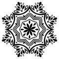 Black and white mandala element.Decorative ornament in ethnic oriental style.