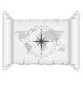 Black and white map with compass rose vector over parchment Royalty Free Stock Photography