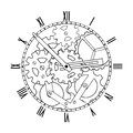 Black and white mechanical clock steampunk Royalty Free Stock Image