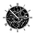 Black and white mechanical clock steampunk Royalty Free Stock Photo