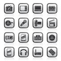 Black and white media and technology icons vector icon set Royalty Free Stock Photo