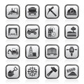 Black and white mining and quarrying industry icons Royalty Free Stock Photo