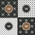 Black and white modern geometric motif seamless pattern