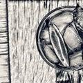 Black and white.mojito freshness alcoholic cocktail.top veiw Royalty Free Stock Photo