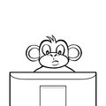 Black and white monkey behind screen sitting a computer or tv Royalty Free Stock Photos