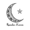 Black and white moon and star poster on white background. Ramadan Kareem.