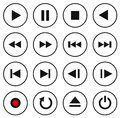 Black and white multimedia control button/icon set Royalty Free Stock Photo