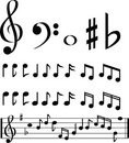 Black and white music note selection Stock Photos