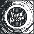 Black and white music poster with old vinyl record Royalty Free Stock Photo