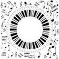Black and white musical concept with round piano and musical notes Royalty Free Stock Photo
