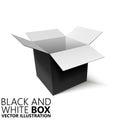 Black and white open box 3D/ illustration