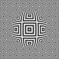 Black and white optical illusion square pattern with 3D sphere Royalty Free Stock Photo