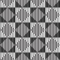 Black and white optical illusion vector seamless pattern background same rhombuses looks different Royalty Free Stock Photo