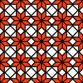 Black white and orange simple star shape geometric seamless pattern, vector