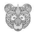 Black and white ornament faces wild beast of the forest bear, ornamental lace design. Page for adult coloring books. Hand drawn in