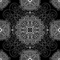 Black and white ornament, seamless pattern, vector background. White wicker weave on a black background, monochrome