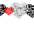 Black and white ornamental hearts border pattern vector seamless Stock Photo