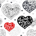 Black and white ornamental hearts pattern vector seamless Stock Photo
