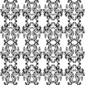 Black and white ornate pattern a with scrolls waves bubbles in the design Stock Photo