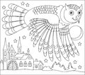 Black and white page for coloring. Drawing of owl flying at night. Worksheet for children and adults.