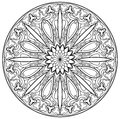 Black and white page for coloring. Fantasy drawing of beautiful Gothic rose window with stained glass in medieval style.