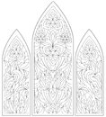 Black and white page for coloring. Fantasy drawing of beautiful Gothic windows with stained glass in medieval style.