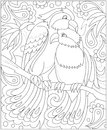 Black and white page for coloring. Fantasy drawing of couple of birds. Worksheet for children and adults.