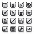 Black and white painting and art object icons Royalty Free Stock Photo