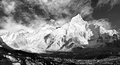 Black and white panoramic view of mount everest with beautiful sky and khumbu glacier khumbu valley nepal Royalty Free Stock Photo