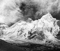 Black and white panoramic view of mount everest with beautiful sky and khumbu glacier khumbu valley nepal Royalty Free Stock Photos