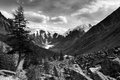 Black white panoramic view savlo valley altai range mountains russia Royalty Free Stock Image