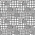 Black and white pattern of circles and squares with mosaic texture Royalty Free Stock Photo
