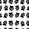 Black white paw print dog imprint seamless pattern, white backgr Royalty Free Stock Photo