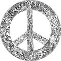 Black and white peace symbol sketchy doodle with the Stock Images