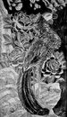 Black and white peacock sculpture in chiness style Stock Photo