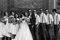 Black and white photo of the couple with the friends Royalty Free Stock Photo