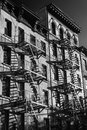 Black and white photo of the exterior of a building in New York Royalty Free Stock Photo