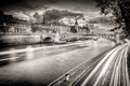 Black and White photo of river Seine in Paris, France. Royalty Free Stock Photo