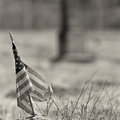 Black and white photo of a worn out american flag Royalty Free Stock Image
