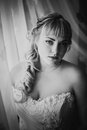 Black white photography portrait of bride on the classic bright background Royalty Free Stock Images