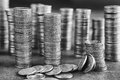 Black and white picture of coins stacks Royalty Free Stock Photo