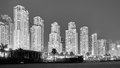 Black and white picture of Dubai at night, UAE. Royalty Free Stock Photo