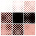 Black white and pink background set with polka dots seamless pattern or big small for desktop wallpaper website design Stock Photography