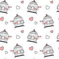 Black white pink cute lovely cartoon birdcage with hearts seamless pattern background illustration