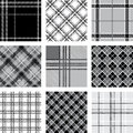 Black and white plaid patterns set Stock Photo