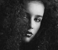 Black and white portrait of a a beautiful female fashion mode Royalty Free Stock Photo