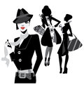 Black and white portrait fashion women Royalty Free Stock Image
