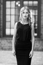 Black and white portrait of serious elegant young blonde woman Royalty Free Stock Photo