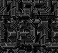 Black and white printed circuit board seamless background with pattern in swatches Royalty Free Stock Photos